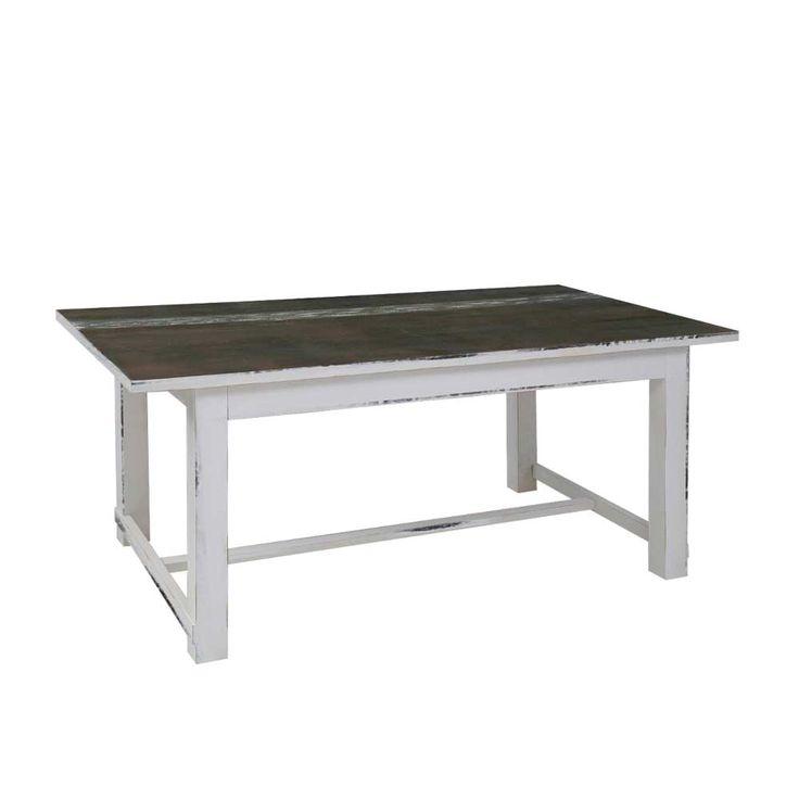 shabby esstisch in wei braun massiv holztischmassivholztischkchentischesszimmertischholztisch massiv