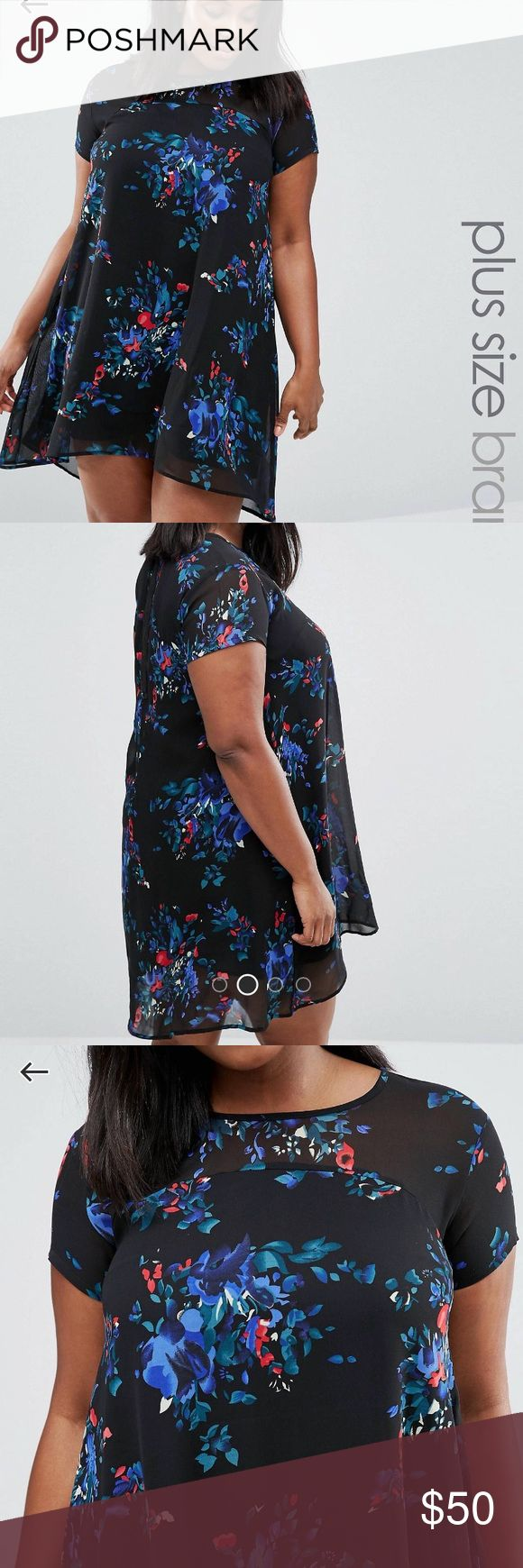 AX Paris Plus Swing dress with Sheer insert Woven fabric Round neckline All-over floral print Semi-sheer panels Zip-back fastening Swing design Loose fit - falls loosely over the body Hand wash 100% Polyester ASOS Curve Dresses High Low