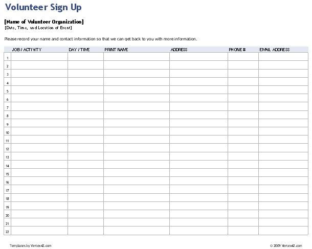 Sign Up Sheets In Sheet Email Address Free Name And Sample Example