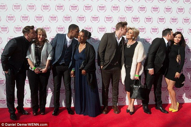Pucker up! Blue stars (l-r) Duncan James, Simon Webbe, Lee Ryan and Anthony Costa posed wi...