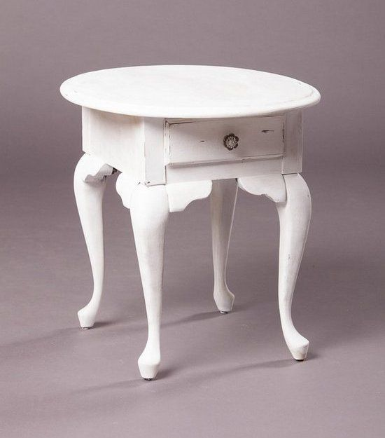 VPS Side Table Darby White Vintage Side Table with Drawer