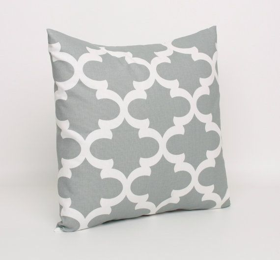 Gray Pillow Cover, Morrocan Tile Gray Cushion Cover, 22x22 inch Pillo ...
