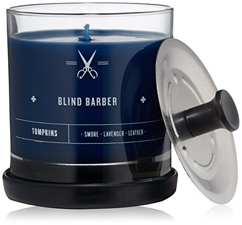 Blind Barber Tompkins Scented Candle, Small | Reminiscent of fresh towels with tinges of leather and smoke, this candle evokes the experience of walking into Blind Barber's East Village Shop—even borrowing its name from a landmark nearby.