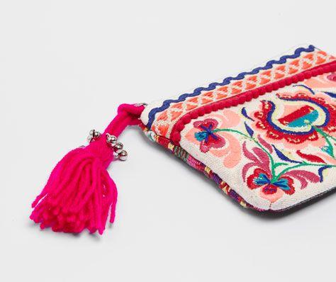 Monedero bordado motivos florales - OYSHO