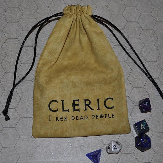 Dungeons and Dragons CLERIC game dice bag by sparrowhawk9 on Etsy, $13.00