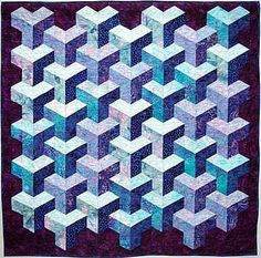 Tumbling Blocks Quilt Pattern | ... under cat tunnel sewing pattern, betty hauser eagle flag bead pattern
