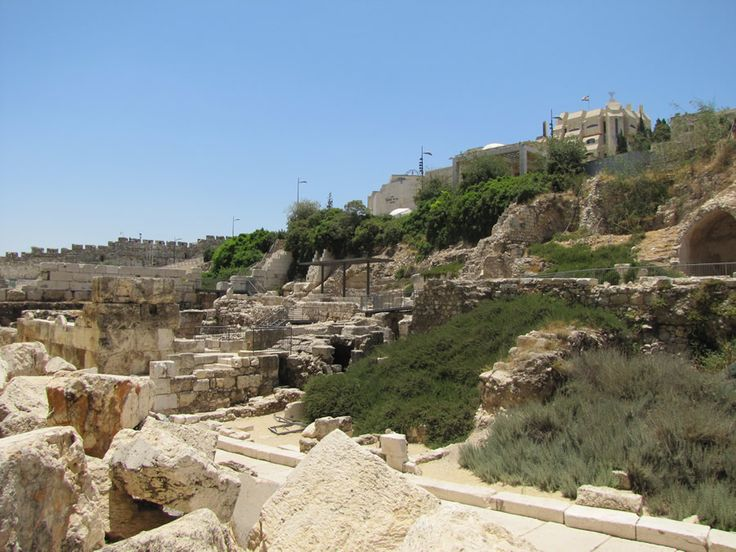 "In this photo the Western Hill (or, Mount Zion) is labeled as ""Western Ridge.""    This is a view from the southwest end of the Temple Mount wall looking up at the Western Ridge (Mount Zion) from the general area where the Central Valley is buried.   (Notice the Herodian street and curb beginning in the bottom right corner of photo in front of the rubble that fell from the Temple Mount in the bottom left corner)"