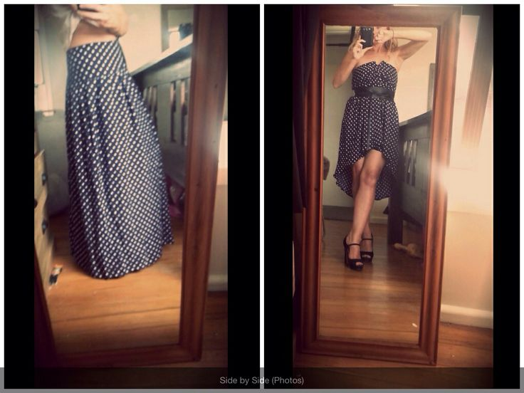 My refashion. Before button up skirt too big, into a dress. Love it!