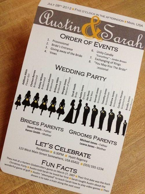 wedding day info card