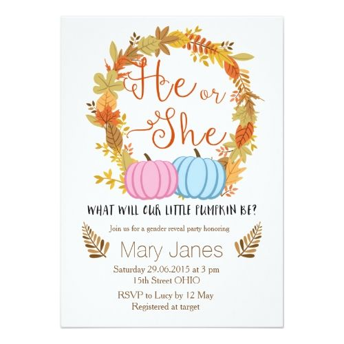 gender reveal party pumpkin fall gender reveal invitation - Gender Reveal Party Invites