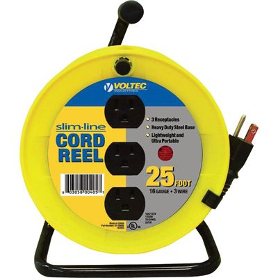 Voltec Led String Lights : This lightweight, ultra-portable Voltec Slim-Line Cord Reel has a steel base with 3 easy-access ...