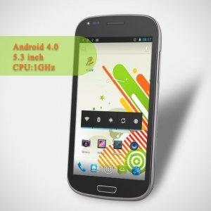 N710 MTK6575 1GHz android 4.0 téléphone mobile 5.3 pouces écran tactile capacitif multi-touche double carte sim double caméra UMTS/3G
