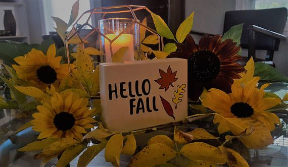 Hello Fall Sign Home Decor for Autumn / Fall with Leaves Inspired by Joanna Gaines from Fixer Upper
