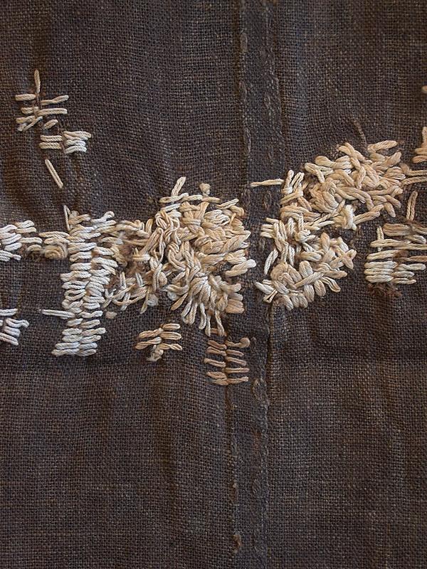 textile japonais : boro, rapiéçage, gris sombre - blanc, wabi-sabi