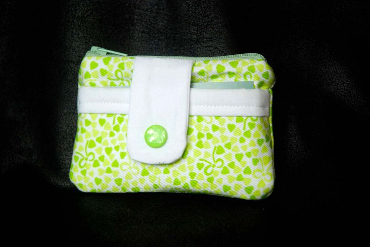 green hearts and ribbons, Coin and Card pouch with snap