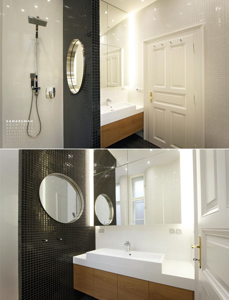 White bathroom with black and gold accents. Historical original interior. Combination of traditional style and contemporary minimalist style. 3D tour on web. #black #white #gold #mosaic #traditional #contemporary #interiorstyle #interior #style #round #mirror