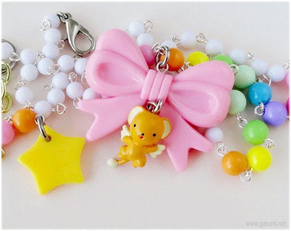 Cardcaptor Sakura Kero Chan Necklace, Pink Bow Pendant, Pastel Rainbow Chain - Fairy Kei Jewelry, Sweet Lolita