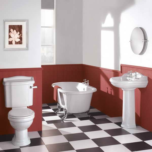 Victorian Era Bathroom With Red Walls