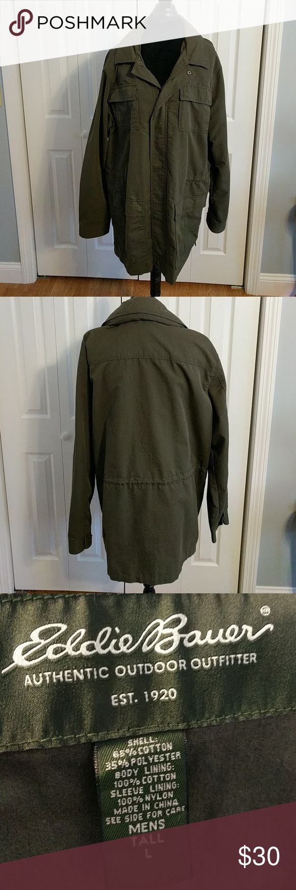 Deep sage green mens car coat. This beautiful Eddie Bauer man's coat was worn only once. It is lite weight enough for spring or fall. It's also the perfect car coat for winter. Hood in collar. This is a Large Tall Eddie Bauer Jackets & Coats Lightweight & Shirt Jackets