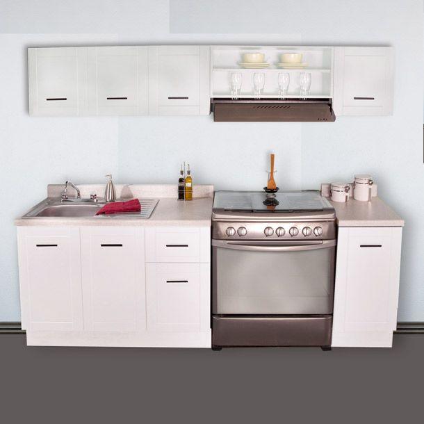 7 piezas. Color blanco. Medida 2.40 m. Incluye mezcladora. Tarja. Cubierta. Jaladeras y zoclo. Modelo PK240P7-WH.