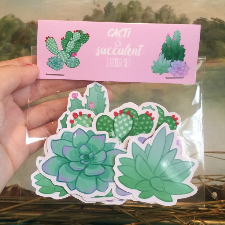 Succulents and Cacti Cactus Stickers pack of 8 by badwitchalert on Etsy https://www.etsy.com/au/listing/252070815/succulents-and-cacti-cactus-stickers