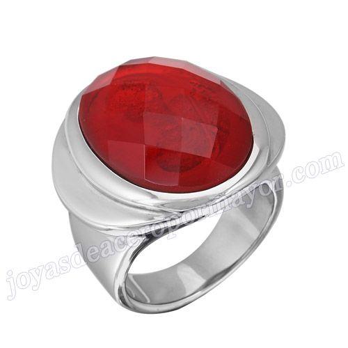 Material: Acero Inoxidable   Nombre:Anillo de  precio de acero con piedra falsa roja   Model No.:SSRG121