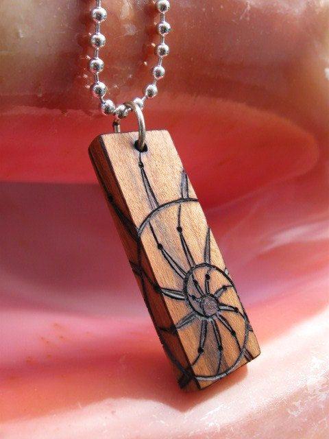 Nautilus Spiral on Cherry Wood Pyrography Pendant 1.5x by ArtAfire
