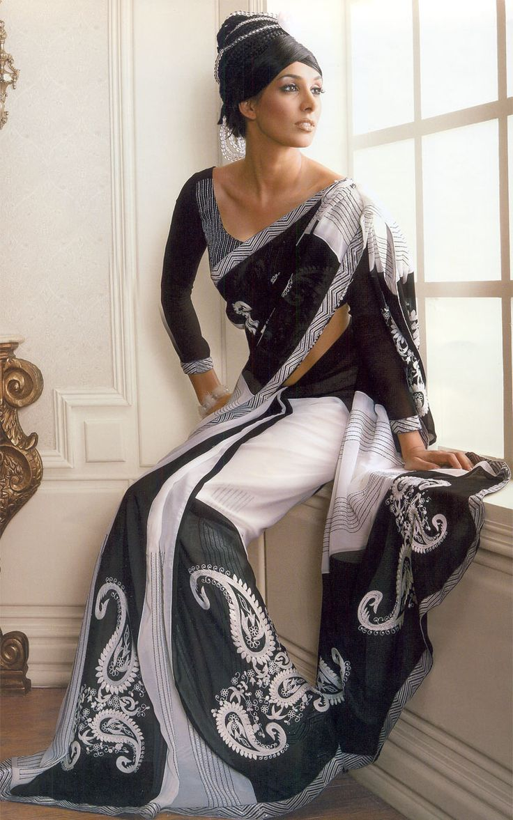 long sleeve sari blouse; gorgeous; black and white