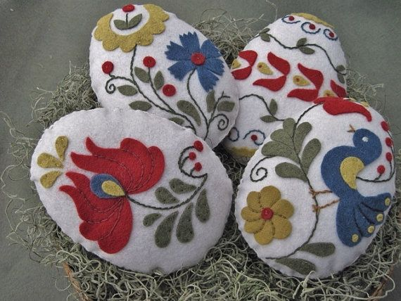 Easter Egg Bowl Fillers Hungarian Folk Art Motifs Wool by twood59