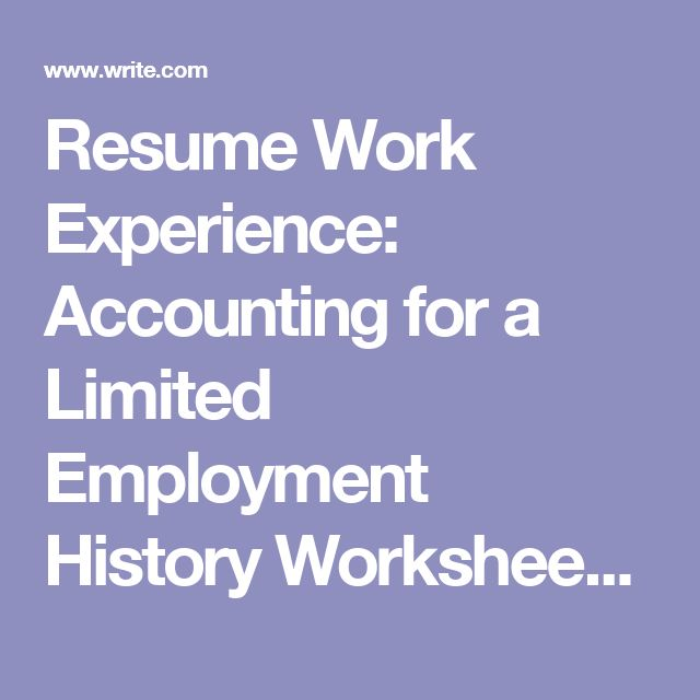 Resume Work Experience Accounting for a Limited Employment - resume for work