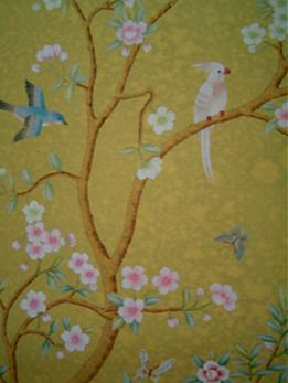 antique style hand painted wallpaper design
