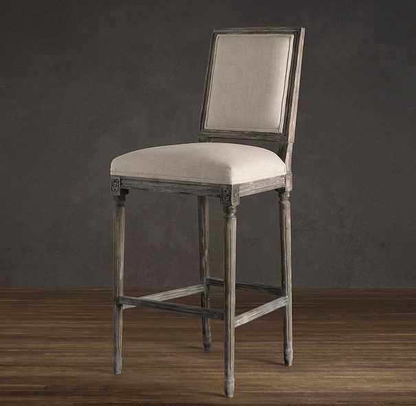 Vintage French Square Upholstered Barstool Bar Counter Stools