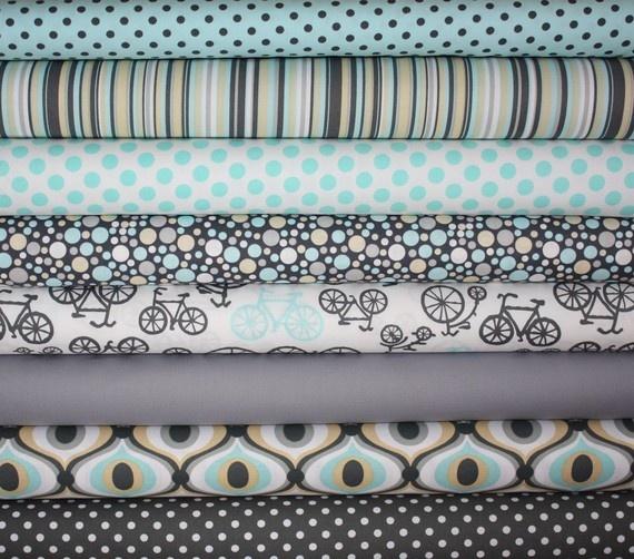 Love: Blue Fabrics, Polka Dots, Bike, Quilts Colors, Cribs Quilts, Cribs Sets, Boys Rooms, Baby Boys, Fabrics Colors