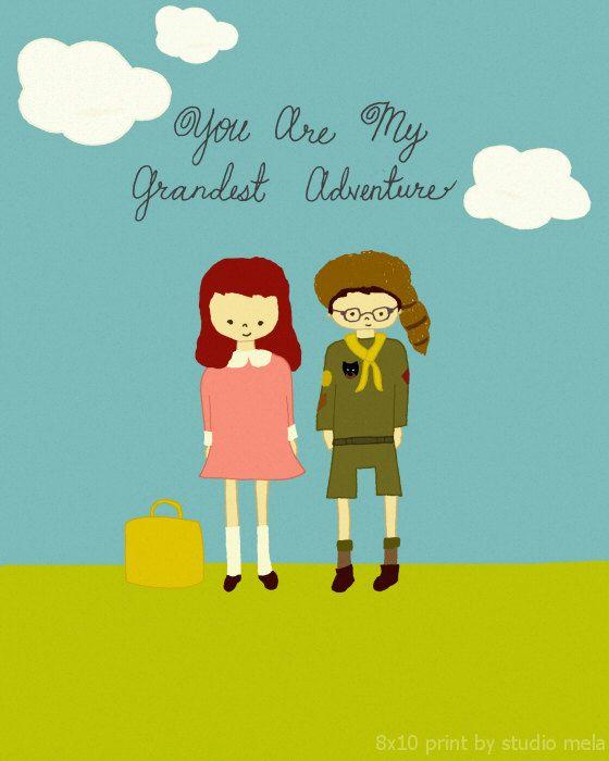 Grand Adventure - illustration digital print, moonrise kingdom inspired, poster, love quote, childrens art, movie poster nursery, via Etsy