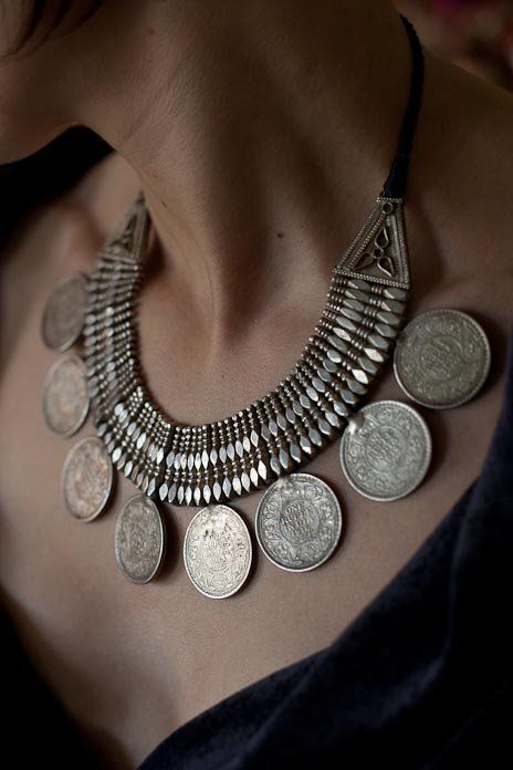 Silver Rupee Necklace from Himachal Pradesh, India.    From 1920s colonial India.