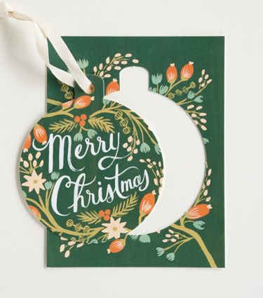 Make bauble gift tags from old Christmas cards.