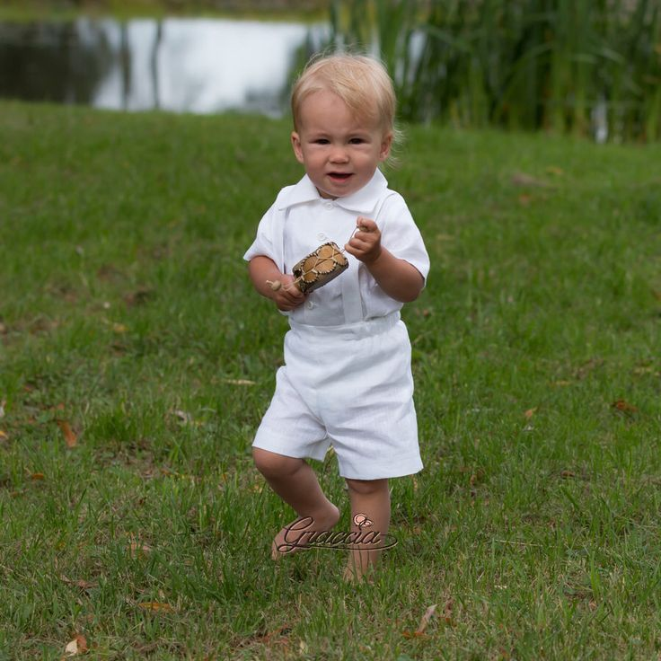 Baby Boy Baptism Outfit Ring Bearer Suit Boy White Linen