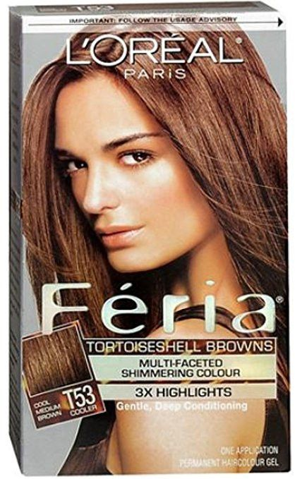 L'Oreal Feria Tortoiseshell Browns Hair Color, T53 Cool Medium Brown (Packaging May Vary)