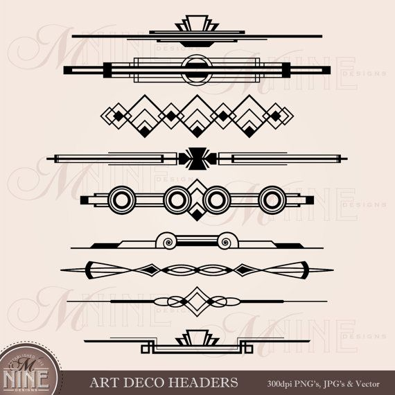 ART DECO HEADERS Clipart Digital Clip Art, Instant Download, Vintage Design Elements Antique Borders Dividers Clip Art Black Silhouette