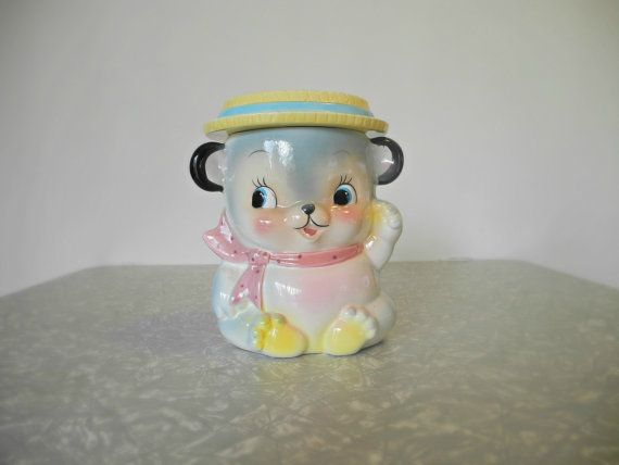 Kitsch Teddy Bear Cookie Jar Canister by SheAdoresVintage on Etsy