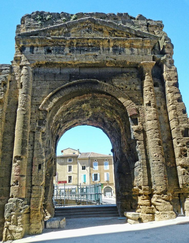 A gateway to the ancient Roman theater in Orange, France ...  A gateway to th...