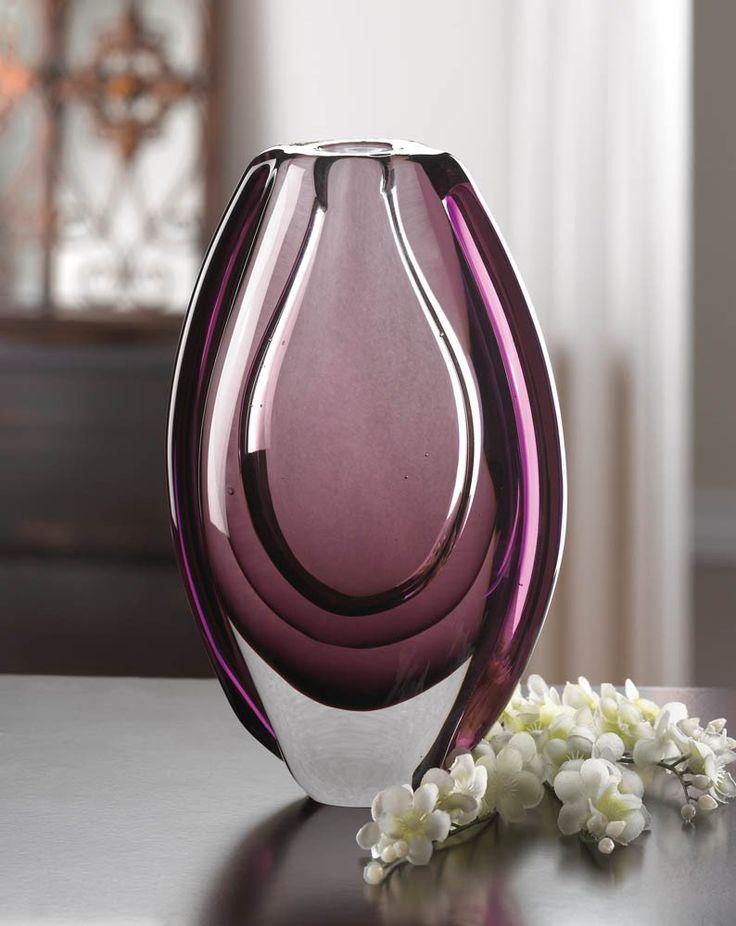 WILD ORCHID ART GLASS VASE