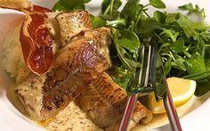 Sautéed smoked eel with mustard, mash and crisp ham