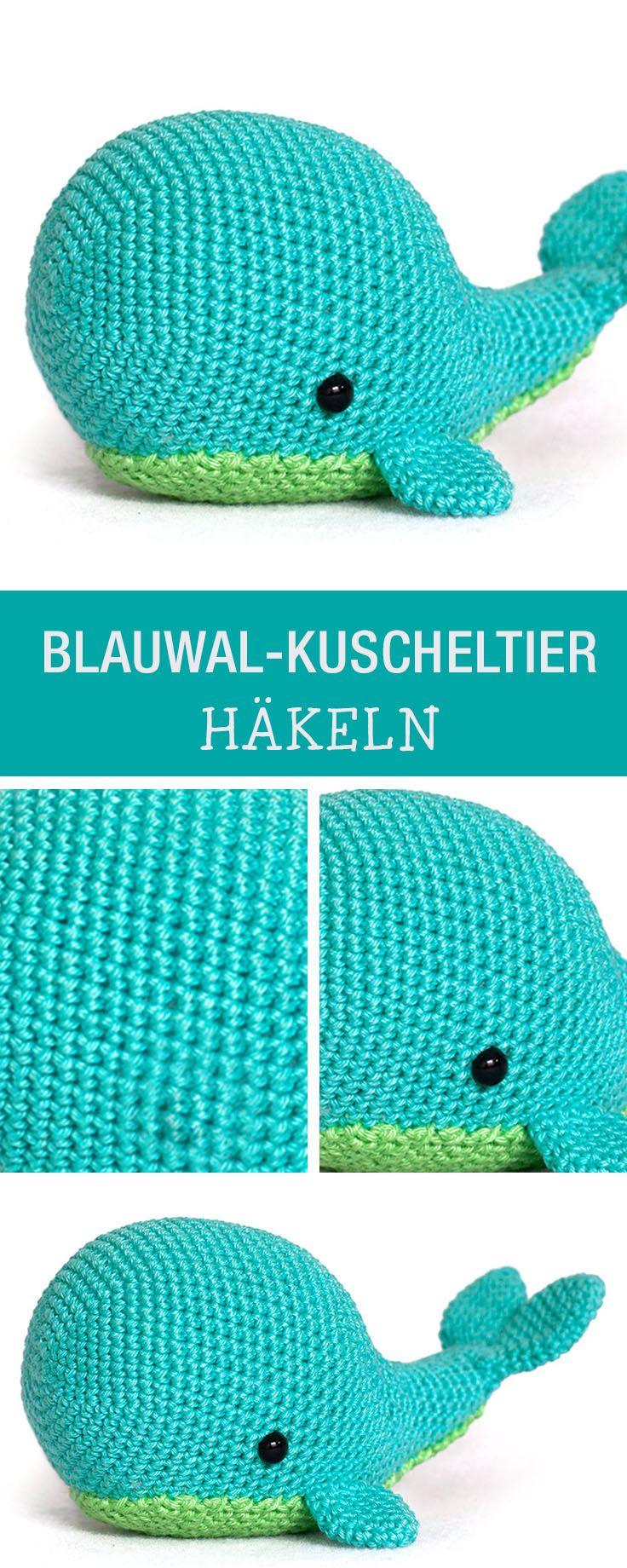 Häkelanleitung für einen kuscheligen Blauwal / crochet a soft toy, amigurumi whale via DaWanda.com