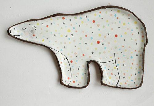 clayopera - Polar bear Ceramic Plate