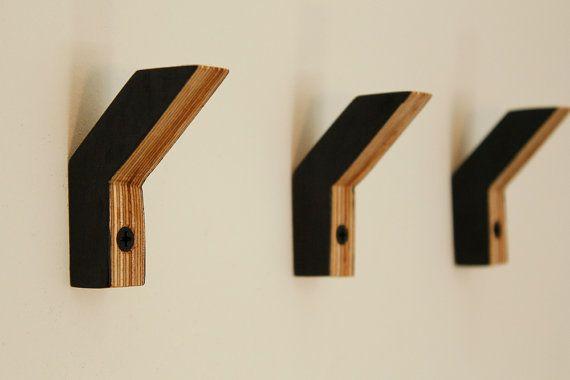 Berken multiplex wandhaken - set van drie - no 2