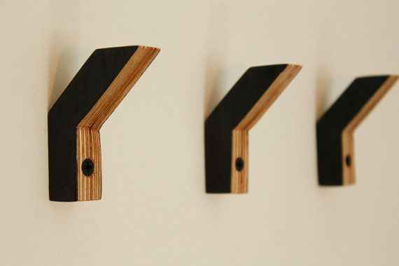 Baltic birch plywood wallhooks set of three no 2 by MAATALO