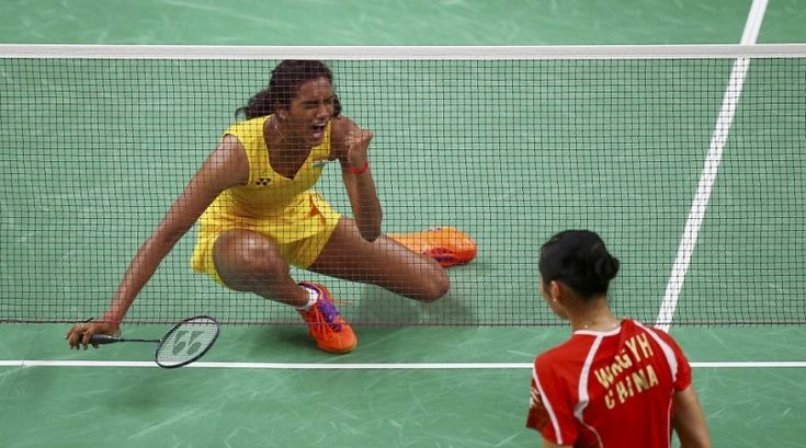 PV Sindhu cannot hide her delight after beating Wang Yihan in the quarterfinals of the badminton event of the Rio 2016 Olympics, Aug.16, 2016