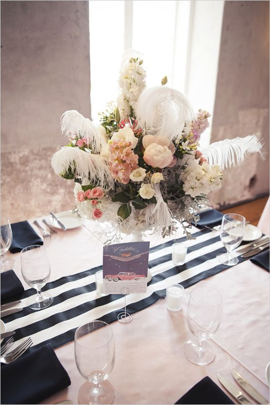 Pink And Black Ostrich Feathers Table Decor Ideas