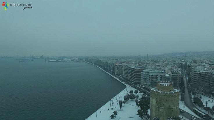 Εικόνες από την χιονισμένη Θεσσαλονίκη από ψηλά (2017)
